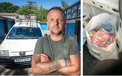 Roofer Stewart Gosling  was punished with the on-the-spot penalty after a stash of waste he kept in a plastic commercial waste bag  was found in the back of his vehicle