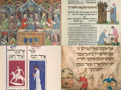 Pages from several rare haggadahs
