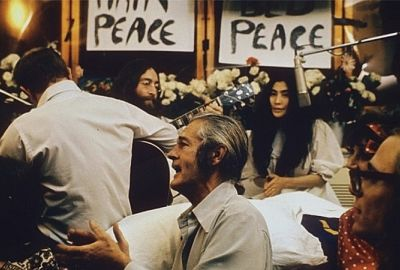 "Recording ""Give Peace a Chance"" during the Bed-In for Peace at the Queen Elizabeth Hotel"