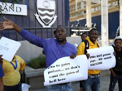 Protesters attend a demonstration against the coronavirus disease (COVID-19) vaccine testing on Africans