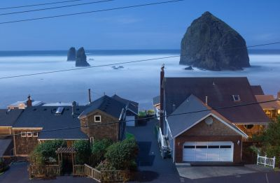 Houses in Cannon Beach, Oregon, sit just inside a tsunami-evacuation zone