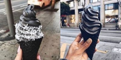 Even though it looks intense, the flavor of black ice cream is actually fairly mild