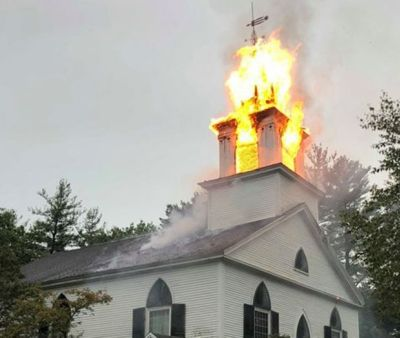 Lightning struck the steeple of the Crosswords Community Church in Bow, N.H. on Tuesday, destroying the steeple
