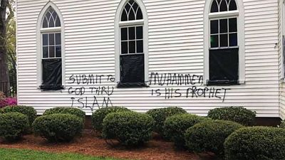 vandals deface church