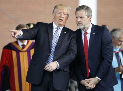 Jerry Falwell Jr., right, during commencement ceremonies at Liberty University in May 2017