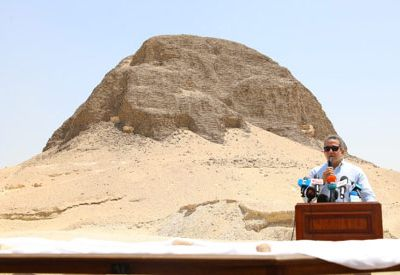Egypt's minister of antiquities Khalid Anani in the inauguration of Lahun Pyramid on Friday after its restoration