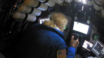 Undersea explorer Victor Vescovo pilots the submarine DSV Limiting Factor in the Pacific Ocean's Mariana Trench