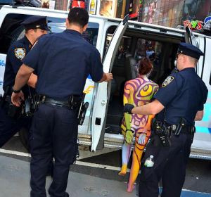 New York's Finest bust Times Square's nude-est, Zoe West, for going bare